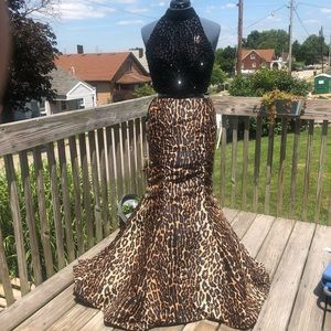 Two Piece Leopard Beaded Top Prom Dress